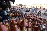 Place el Hedim and tagine pots, Meknes, Morocco, North Africa, Africa