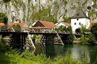 Old timber bridge in Essing in the Altmuehltal, Bavaria