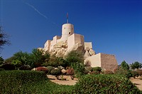 Nakhl fort, dating from the 16th and 17th centuries, Batinah region, Western Hajar, Oman, Middle East