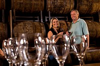 Couple at a winery tour and tasting