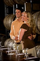 Couple on a winery tour and tasting