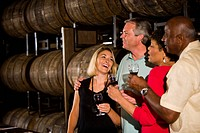 Couples on a winery tour and tasting