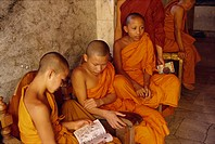 Buddhist monks near Chiang Mai, Thailand, Southeast Asia, Asia