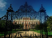 Kensington Palace through front gate, London, England, United Kingdom, Europe