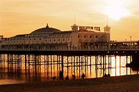 Brighton Pier at sunset, Brighton, East Sussex, England, United Kingdom, Europe