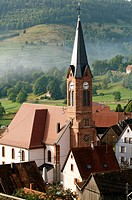 Church of Soultzeren, village in the Vosges mountains, Alsace, France