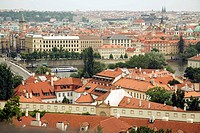 Rooftops of Prague with the River Vltava in the centre, Czech Republic