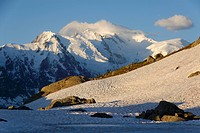 Lake Blanc & Massif of Mont Blanc, Aiguilles Rouges, Chamonix, Alpes, Alps (thumbnail)