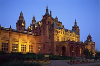 Museum and Art Gallery at dusk, Glasgow, Scotland, United Kingdom, Europe