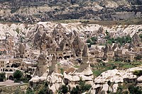 Volcanic tuff pillars and erosion surrounding Goreme, Cappadocia, Anatolia, Turkey, Asia Minor, Asia