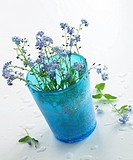blue glass with forget_me_not