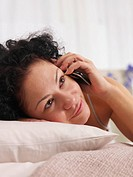 talking on the phone in bed