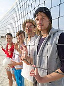 At the beach volleyball net