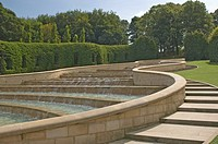The fountains, Alnwick Gardens, Alnwick Castle, Northumbria, England, United Kingdom, Europe