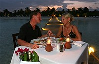 Having diner at the bar at the White Sands hotel island Maldives