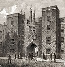 The Chancery Lane Gate of Lincolns Inn, one of four Inns of Court, London, England  From the book London Pictures drawn with pen and pencil by The Rev...