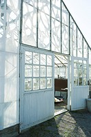 Greenhouse, door propped open