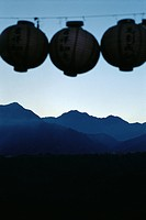 Chinese lanterns, Alishan range in background, Taiwan (thumbnail)