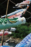 Japanese koinobori flying in the breeze