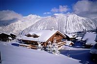 Modern chalets, Courchevel, Trois Vallees, Haute_Savoie, French Alps, France, Europe