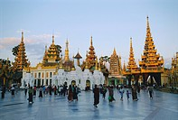 Golden dome of the Shwedagon Paya Shwe Dagon Pagoda at dusk, Yangon Rangoon,, Myanmar Burma, Asia