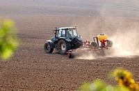 Tractor working dry arid ground