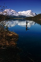 Man Flyfishing at Lower Paradise Lake KP AK