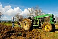 Farmer ploughing, Son Sardina. Majorca, Balearic Islands, Spain