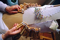 Making bobbin lace, Camarinas is a famous lace making village, the lace makers are called Palilleiras