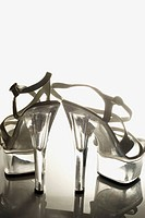 Clear acrylic 5 inch platform stiletto heel sandals