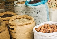 Sacks of nuts and lentils in the Spice Souk, Deira, Dubai, United Arab Emirates, Middle East