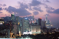 Hong Kong Island skyline, Causeway Bay, in the evening, Hong Kong, China, Asia