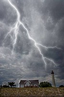 Lightning over a lighthouse, Cape May Lighthouse, Cape May Point State Park, New Jersey, USA