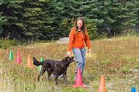 Woman training dog on agility course
