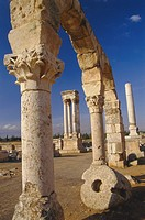 The tetrastyle in city centre seen through street arcades, Umayyad Anjar, Lebanon, Middle East