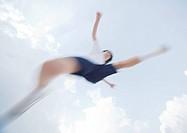 Elementary school student jumping