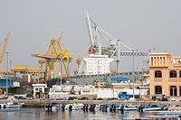 Khor Fakkan UAE Large cargo ships docked to load and unload goods at Khor Fakkport