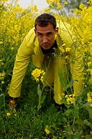 Mid adult man wearing a yellow suit sneaking up to something in a rape_field