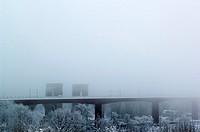 Årstabron I Vinterdis, Stockholm, Sverige, Bridge In Fog