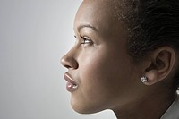 Close_up view of young woman profile