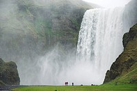 Tourists at Skogafoss waterfall, Skogar, South area, Iceland, Polar Regions