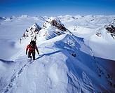 Klättring På Tvillingryggen I Sarek, April, Man Walking On Snow Mountain, Elevated View
