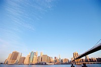 Brooklyn Bridge and skyline, New York City, New York, USA, North America