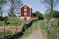 Stensjö By I Småland. Kulturreservat, Lane By House And Trees In Background
