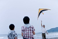Father flying a kite with sons