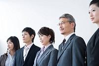 Business Scene, Five People Standing in Line