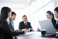 Business Scene, Five People Having Business Meeting