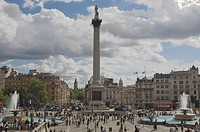 Nelsons Column in Trafalgar Square, with Big Ben in distance, London, England, United Kingdom, Europe