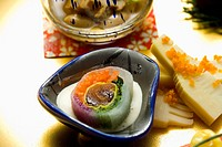 Japanese food in a bowl, high angle view, close up, Japan