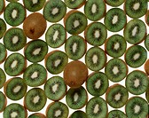 Rows Of Halved Kiwi Fruits